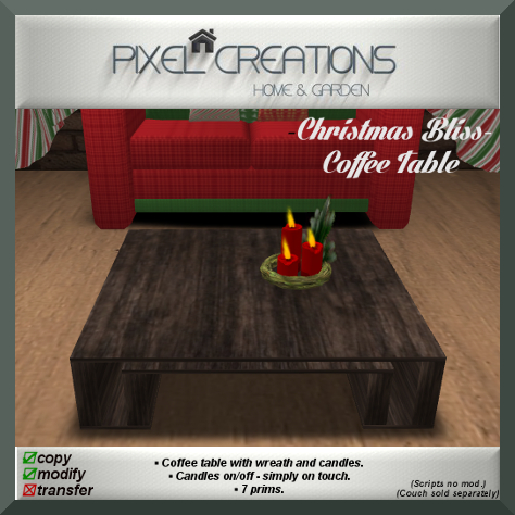 PC PIXEL CREATIONS - CHRISTMAS BLISS COFFEE TABLE