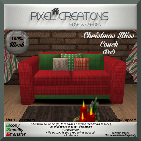 PC PIXEL CREATIONS - CHRISTMAS BLISS COUCH RED