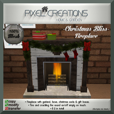 PC PIXEL CREATIONS - CHRISTMAS BLISS FIREPLACE
