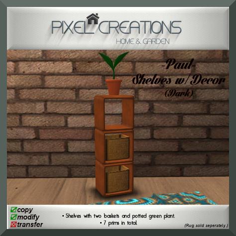 PC PIXEL CREATIONS - PAUL SHELVES W DECOR DARK