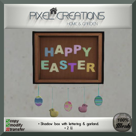 PC PIXEL CREATIONS - HAPPY EASTER SHADOW BOX W GARLAND