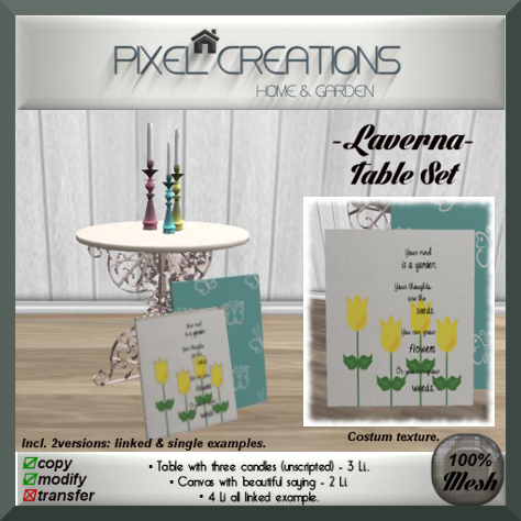 PC PIXEL CREATIONS - LAVERNA TABLE SET